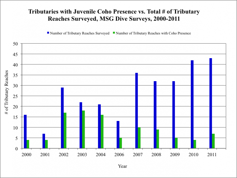 Tributaries with Juvenile Coho Presence vs. Total # of Tributary Reaches Surveyed, MSG Dive Surveys, 2000-2011